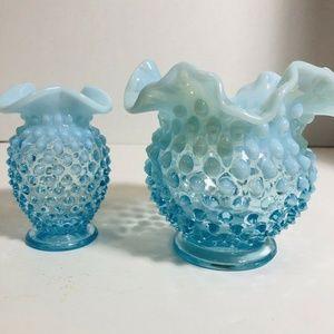 Fenton Blue Opalescent Vases Hobnail Ruffle Rim